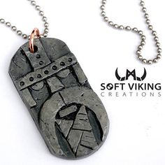 Viking Totem Dog Tag Pendant Necklace Handmade One of a