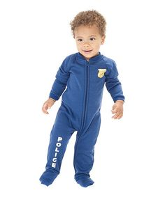 Take a look at this Blue 'U.S. Police' Footie - Infant by Footed Pajamas on #zulily today!