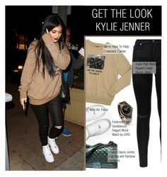 """""""Get the look- Kylie Jenner. JORD Wood Watches #2"""" by stylect ❤ liked on Polyvore featuring 7 For All Mankind, NIKE, Chanel, Fieldcrest and Justin Bieber"""