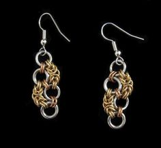 Tri Metal Serrated Byzantine Chainmaille Earrings
