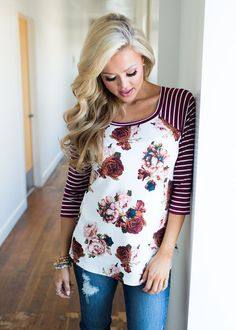 Boutique, Online Boutique, Women's Boutique, Modern Vintage Boutique, Top, Burgundy and White Top, Striped Top, Floral Top, 3/4 Sleeve Top, Striped Sleeve Top, Cute, Fashion