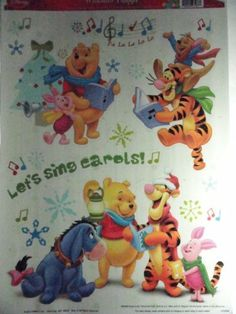 "Disney Winnie the Pooh Christmas Color Window Clings - Let's Sing Carols! by Disney. $6.98. Approx 15-1/2"" x 9-1/2"" sheet. Static Cling Window Decorations. Pooh, Tigger, Roo, Piglet and Eeyore"