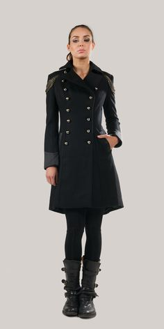 Double Breasted Buttons Black Napoleon Coat - kat von d Los Angeles