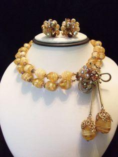 VENDOME Vintage 50s Butterscotch Yellow Glass Bead Rhinestone Necklace Earrings #Vendome