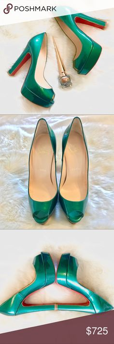 Christian Louboutin Bambou 140 Emerald Patent Calf NWT. Beautiful patent leather pumps from Christian Louboutin. These gorgeous shoes are a slightly shimmery emerald green. I have never worn them other to try them on at the store and once at home. This comes with the box and replacement heel tips, however Neiman Marcus failed to give me a dust bag when I purchased these, so that will not be included. Cost about $860 with San Francisco tax. Price is somewhat negotiable. Christian Louboutin…