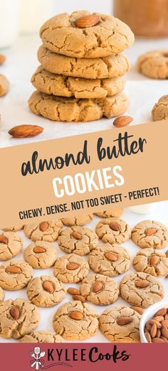 Soft and chewy, these almond butter cookies made from homemade almond butter. A treat for those with peanut allergies, and so good, everyone will love them!   #almond #almondbutter #cookies #baking #peanutfree #kyleecooks Almond Butter Cookie Recipe, Homemade Almond Butter, Almond Cookies, Easy No Bake Desserts, Homemade Desserts, Fun Desserts, Delicious Desserts, Poke Cake Recipes, Healthy Dessert Recipes