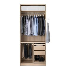 PAX Wardrobe, white stained oak effect, Fardal high-gloss/white - soft closing hinge - cm - IKEA Wardrobe Closet, Built In Wardrobe, Home Office Decor, Home Decor Bedroom, Armoire Ikea, Soft Closing Hinges, Ikea Closet, Closet Layout, Bedrooms
