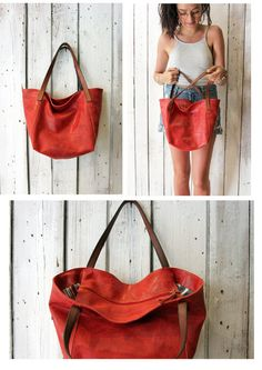 DuDù BAG tote shopping  bag, Vintage red leather HANDMade in ITaly di LaSellerieLimited su Etsy