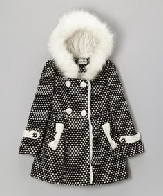 Take a look at this Black & White Dot Hooded Coat - Girls by Bijan Kids on #zulily today!