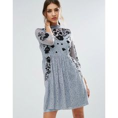 ASOS Embroidered Lace Mini Skater Dress (£61) ❤ liked on Polyvore featuring dresses, grey, lace skater dress, see-through dresses, high-neck camisoles, skater dress and lace slip dresses