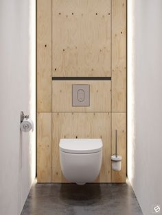 Modern interior with plywood decor elements Plywood Interior, Plywood Walls, Flat Interior, Plywood Furniture, Small Toilet Room, Toilet Wall, Bathroom Interior, Modern Bathroom, Ideas Baños