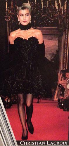 Christian Lacroix- A/W 1987-88 Black floral rosette strapless mini dress. L'Officiel No. 734- September 1987