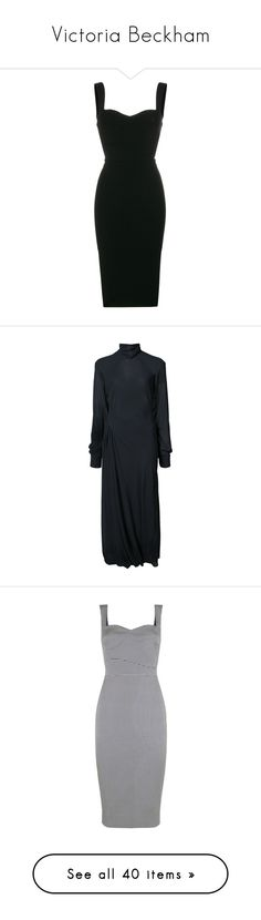 """Victoria Beckham"" by bliznec ❤ liked on Polyvore featuring dresses, black, sweetheart neckline dress, sweet heart dress, victoria beckham dresses, victoria beckham, sweetheart neck dress, blue, long sleeve dress and roll neck dress"