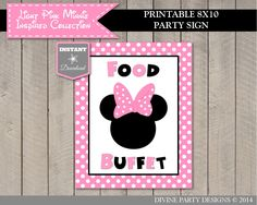 Light Pink Minnie Mouse Birthday Party Ideas: Printable 8x10 Food Buffet Sign to put on food table. Use promo code PINTEREST10 to save 10% off purchase.