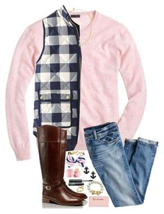 """School in 4 days :((("" by sperry-topsider ❤ liked on Polyvore featuring J.Crew, Kate Spade, Tory Burch, Eos, Sperry Top-Sider and NARS Cosmetics"