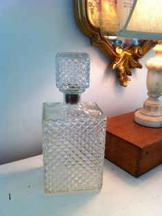 Liquor Decanter  Midcentury Pyramid Glass. by HillsideHouse, $16.00