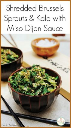 We've always -- ALWAYS -- roasted our Brussels sprouts ... until now. This shredded Brussels sprouts and kale with miso dijon sauce is AMAZING.