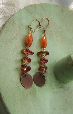 Rich Earthy Tones -  Gold Green, Red, Purple  and Copper Beaded Dangle Earrings on Antique Copper Ear Wires