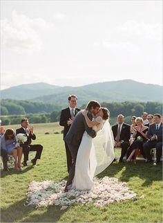 wedding kiss on petal platform