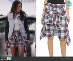 Emily's plaid shorts and denim jacket with leather sleeves on Pretty Little Liars.  Outfit Details: http://wornontv.net/49940/ #PLL