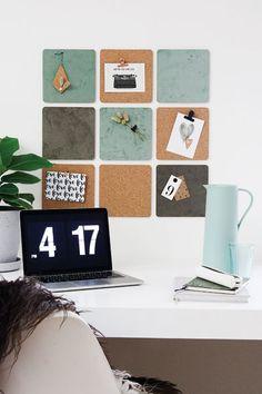Blog - Prikbord nieuwe stijl - Wonen voor jou Wall Murals Bedroom, Bedroom Decor, Office Decor, Home Office, Organizing Hair Accessories, Bohemian Room, Desk Organization, Office Interiors, Girl Room