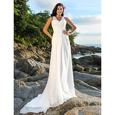 Sheath/Column V-neck Court Train Chiffon Wedding Dress – USD $ 199.99
