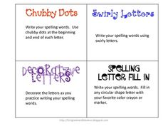 Different ideas to practice spelling words.  These are great used in centers, or even for homework ideas....