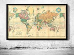 Beautiful World Map Vintage Atlas 1898 Mercator by OldCityPrints