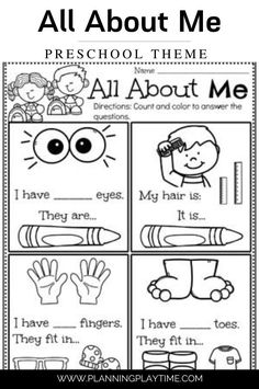 Learn All About Me - Preschool Worksheet Back To School Worksheets, Preschool Worksheets, Preschool Activities, Learning Through Play, Kids Learning, All About Me Preschool Theme, All About Me Worksheet, Letter Recognition, Feeling Overwhelmed