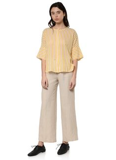 Pomandere - 9303 Striped Cotton Shirt in Yellow – gravitypope Gift Card Balance, Normcore, Collections, Yellow, Cotton, Shirts, Fashion, Moda, Fashion Styles