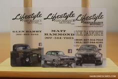 Use frosted plastic business cards to promote your car dealership.