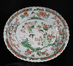 VERY LARGE ANTIQUE CHINESE FAMILLE VERTE RIBBED BOWL WITH BIRDS + FLOWERS - 18C