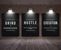 3 Pieces Grind / Hustle / Execution Wall Art Canvas Prints – Home office design Office Wall Design, Home Gym Design, Modern Office Design, Office Walls, Office Interior Design, Office Interiors, Design Tech, Office Artwork, Office Designs