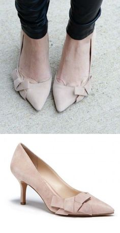 Pretty suede mid heel pump with a ladylike bow and pointed toe.