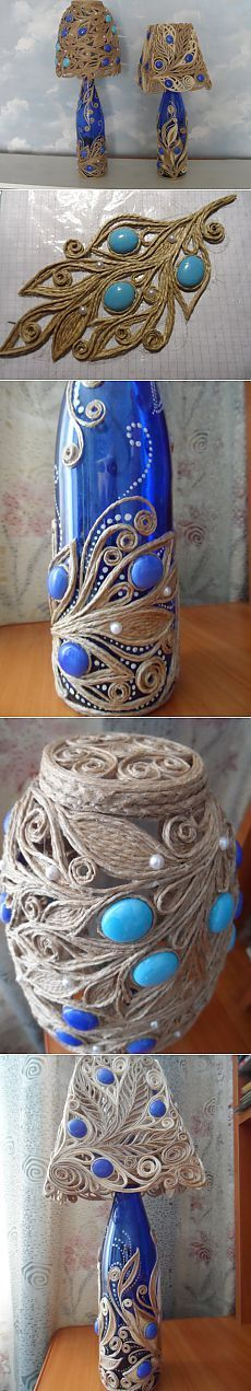 Jute filigree bottle crafts with rope Wine Bottle Art, Diy Bottle, Wine Bottle Crafts, Hobbies And Crafts, Diy And Crafts, Arts And Crafts, Bottles And Jars, Glass Bottles, Diy Cadeau Noel