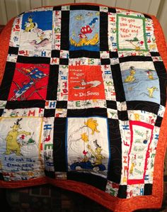 Dr Seuss  Green Eggs and Ham Child's Quilt by RedTailRoadQuilts, $99.00