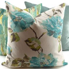Turquoise Brown Apple Green Aqua & Off White by ThePillowSpot