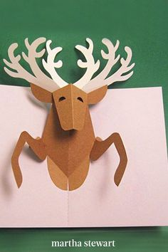 On Dasher, on Dancer, on Prancer, and Vixen! Spread holiday cheer this season with this one-of-a-kind reindeer card. Download our printable templates for the reindeer's antlers, head and body, plus the pop-up card base. #marthastewart #christmas #diychristmas #diy #diycrafts #crafts