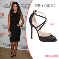 Selena Gomez in Jimmy Choo Valetta Black Suede Strappy Sandals - ShoeRazzi