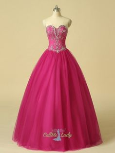 Fuchsia tulle beading sweetheart quinceanera dresses ball gown prom dresses
