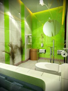 Neon Green Bathroom Ideas Bright Lime And White