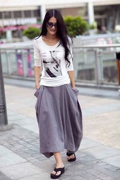 Lagenlook Hot Maxi Skirt Unique Long Skirt  Big Pockets Summer Skirt - NC144. $59.99, via Etsy.