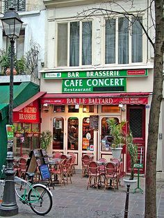 Rita Crane Photography: France / Paris / Bistro / Cafe / Restaurant / Bicycle / Lampost / Historic Cafe / brasserie / red / Bar le Baltard, Marais District, Paris