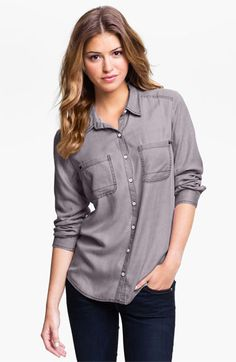 Rubbish® Relaxed Menswear Shirt (Juniors) available at #Nordstrom    navy-plumeria MED.