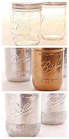 DIY Metallic Painted and Glitter Rimmed Mason Jars