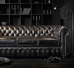 The classic Chesterfield takes a dark turn. Even paired with all black decor it still stands out on its own.