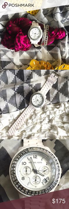MICHAEL KORS CHRONOGRAPH WATCH DETAILS: Size OZ // Features 40 baguette stones and  stainless steel bezel // White silicon rubber bracelet with buckle clasp and white date display | NWOT Michael Kors Accessories Watches