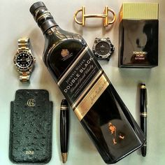 We did Gold and Blue; now ⚫️⚫️⚫️⚫️⚫️⚫️ Black weekend essentials for my friends cc: Cigars And Whiskey, Scotch Whiskey, Bourbon Whiskey, Whiskey Bottle, Johnnie Walker Whisky, Alcohol Bottles, Fashion Watches, Watches For Men, Perfume