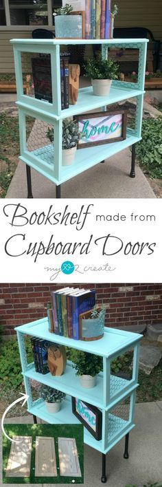 Diy Make a beautiful and unique Bookshelf from Cupboard Doors, the perfect repurposed project for yo Refurbished Furniture, Unique Furniture, Repurposed Furniture, Furniture Projects, Furniture Makeover, Diy Furniture, Diy Projects, Furniture Refinishing, Cottage Furniture