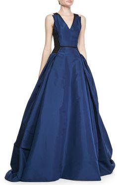 Carolina Herrera Colorblock Full Aline Gown Ultramarine